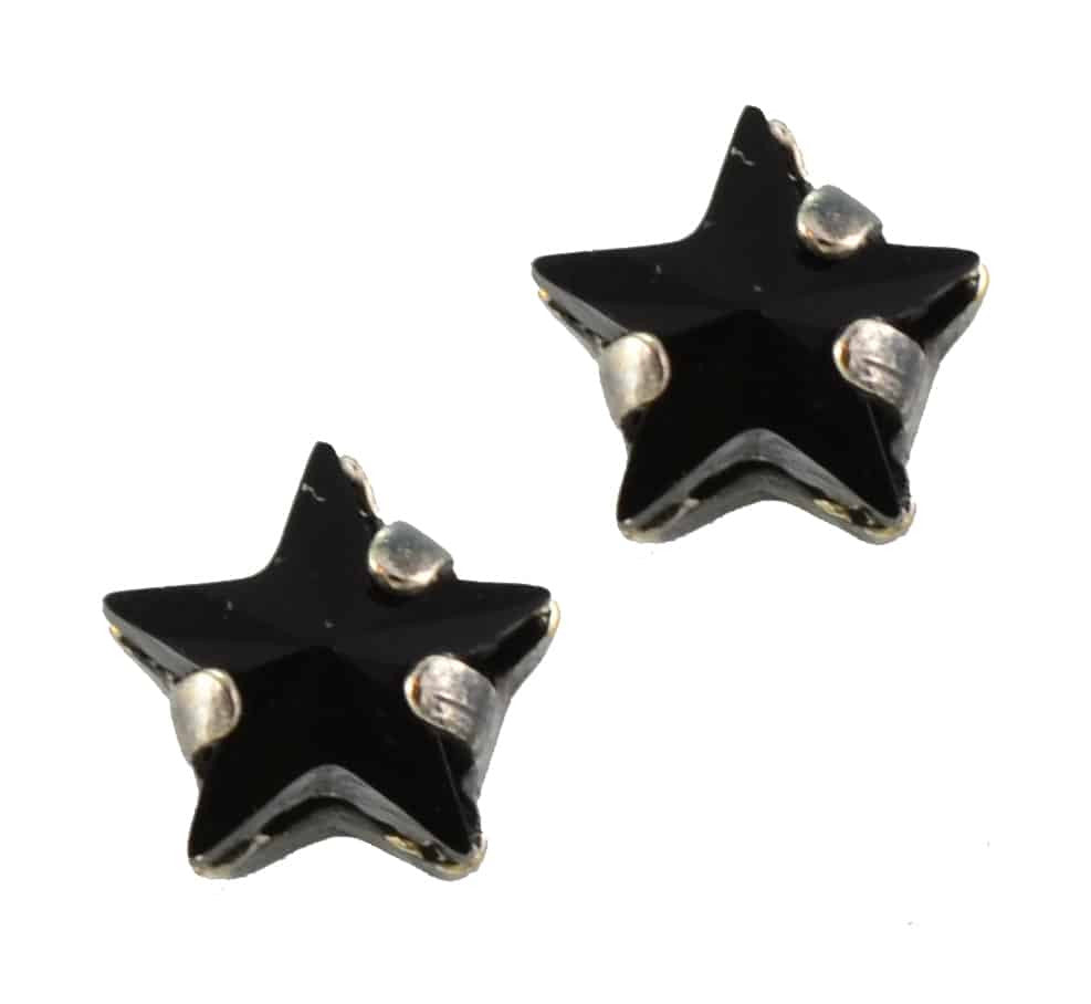 Mariana Jewelry Midnight Lace Silver Plated Petite Star Swarovski Crystal Post Earrings in Jet