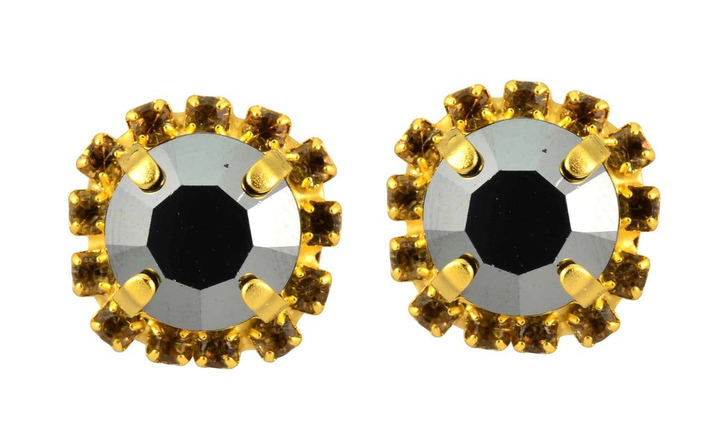 Mariana Jewelry Midnight in Paris Gold Plated Swarovski Crystal 2 Layer Stud Earrings