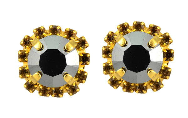 Mariana Midnight in Paris Gold Plated Swarovski Crystal 2 Layer Stud Earrings