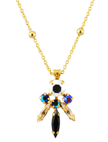 Mariana Midnight in Paris Gold Plated Swarovski Crystal Art Deco 3 Spike Necklace, 16+4