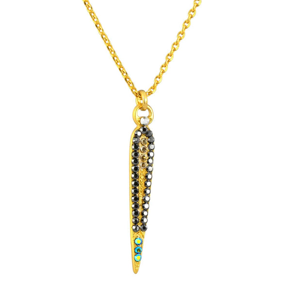 Mariana Midnight in Paris Gold Plated Swarovski Crystal Art Deco Spike Pendant Necklace, 14+4