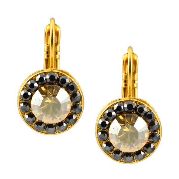 Mariana Midnight in Paris Gold Plated Petite Circle Swarovski Crystal Drop Earrings