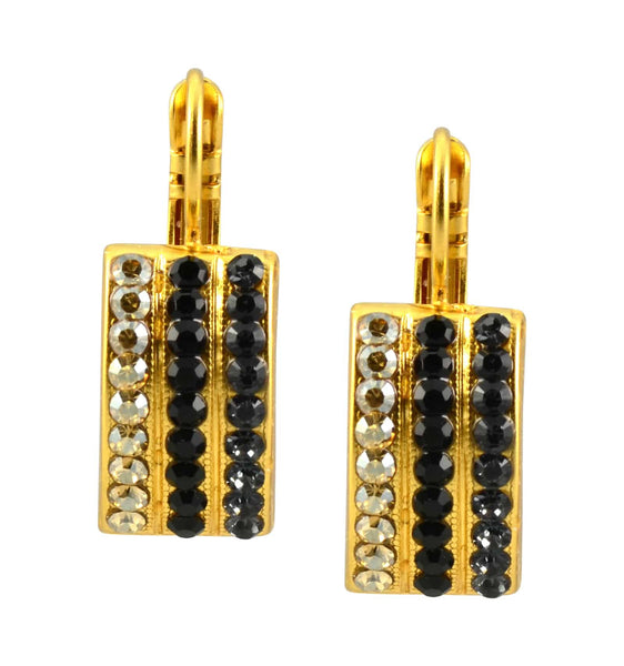 Mariana Midnight in Paris Gold Plated Swarovski Crystal Cross Curved Rectangle Dangle Earrings