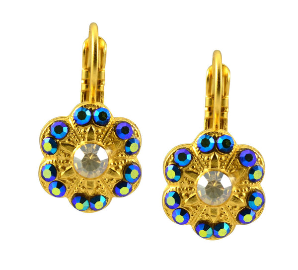 Mariana Midnight in Paris Gold Plated Swarovski Crystal Flower Drop Earrings