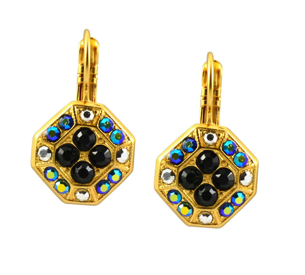 Mariana Midnight in Paris Gold Plated Swarovski Crystal Octagon Dangle Earrings