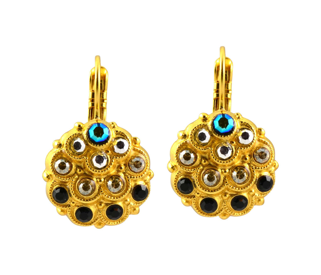 Mariana Jewelry Midnight in Paris Gold Plated Swarovski Crystal Peacock Drop Earrings