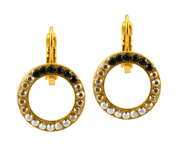 Mariana Midnight in Paris Gold Plated Swarovski Crystal Round Circle Earrings