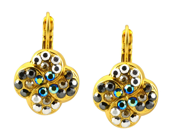 Mariana Midnight in Paris Gold Plated Round Swarovski Crystal Clover Swirl Drop Earrings