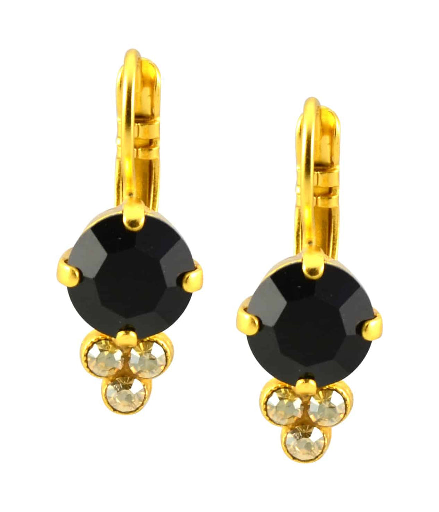 Mariana Midnight in Paris Gold Plated Swarovski Crystal Round Cluser Drop Earrings