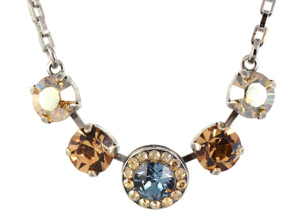 Mariana Moondrops 5 Circle Necklace, Silver Plated with Fawn Swarovski Crystal, 14+4 5084 216-3