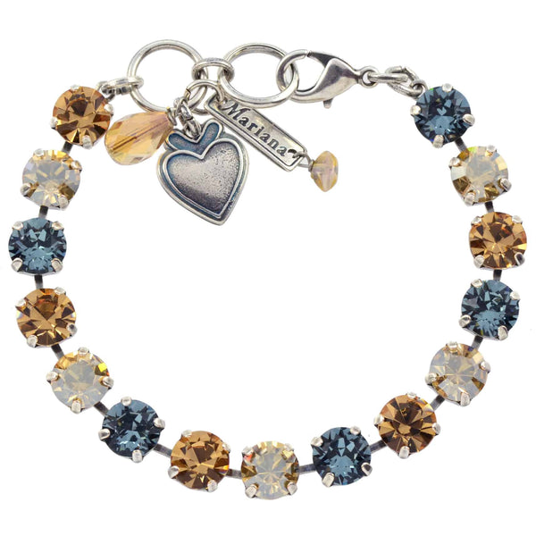 Mariana Moondrops Tennis Bracelet, Silver Plated with Fawn Swarovksi Crystal, 8 4252 216-3