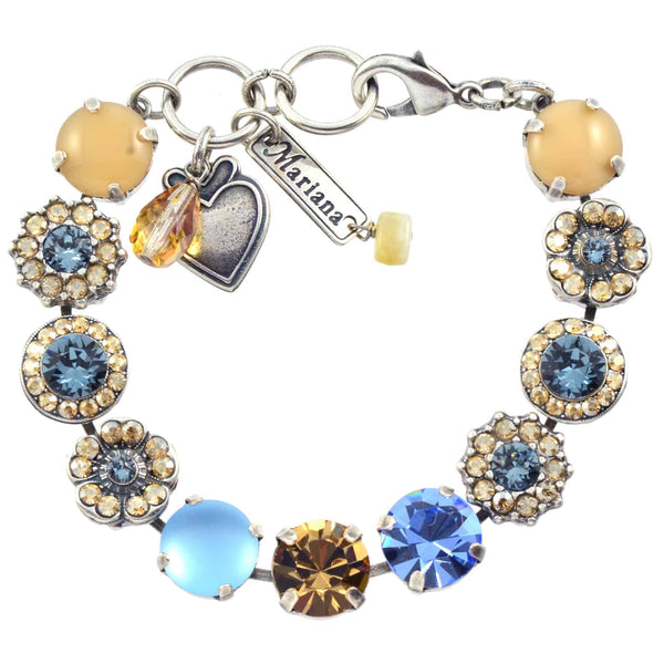 Mariana Moondrops Large Flower Design Tennis Bracelet, Silver Plated With Blue Swarovski Crystal, 8 4084 216-3
