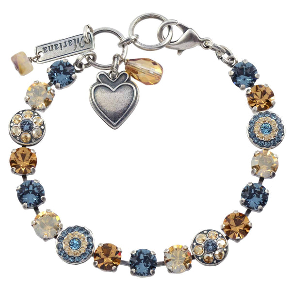 Mariana Moondrops Round Jewel Tennis Bracelet, Silver Plated with Fawn Swarovski Crystal, 8 4044 216-3