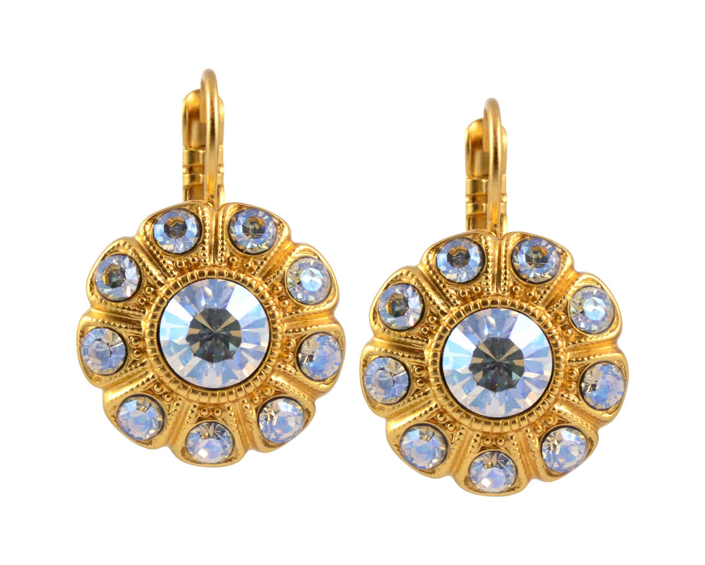 Mariana Jewelry Nine Petal Flower Drop Earrings, Gold Plated with Moonlight Swarovski Crystal 1205 001MOL