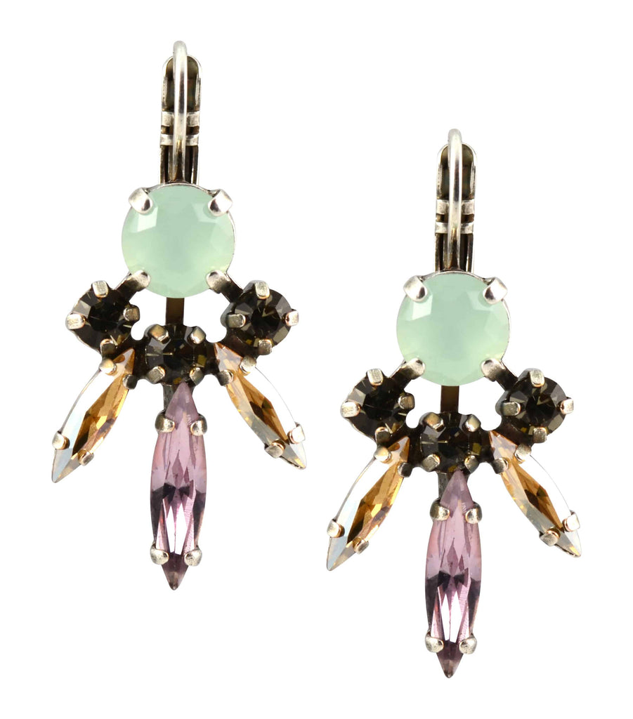 Mariana Jewelry Orchid Silver Plated Swarovski Crystal Art Deco 3 Spike Drop Earrings