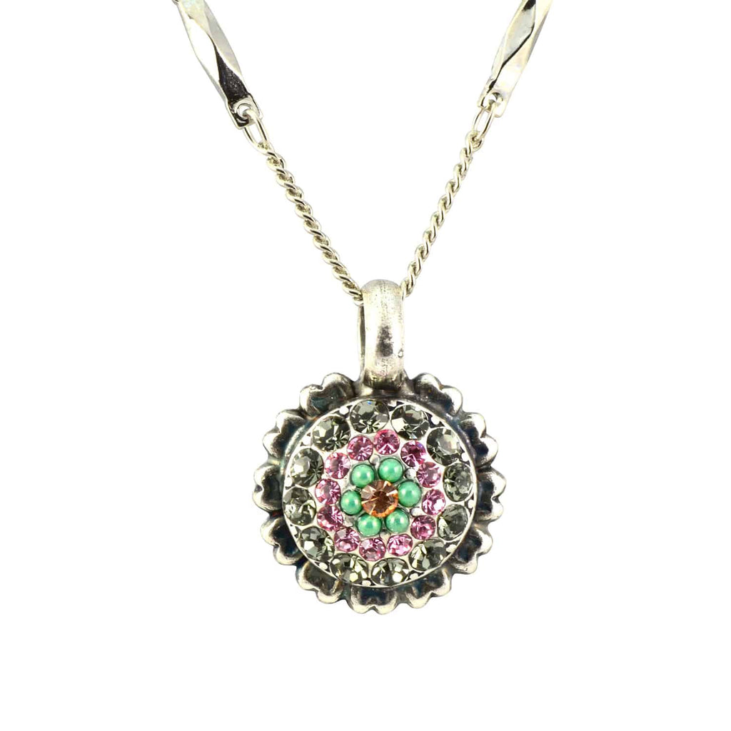 Mariana Jewelry Orchid Silver Plated Swarovski Crystal Flower Pendant Necklace, 16+4