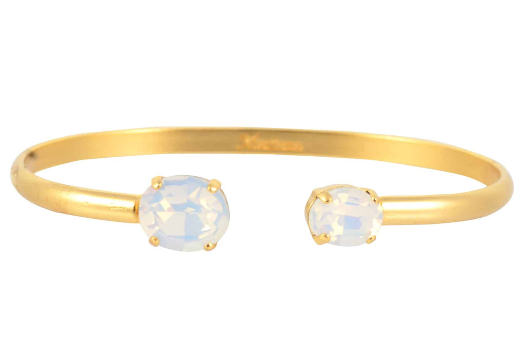 Mariana Jewelry Oval Bangle Bracelet, Gold Plated with White Opaque Swarovski Crystal 4603 234234