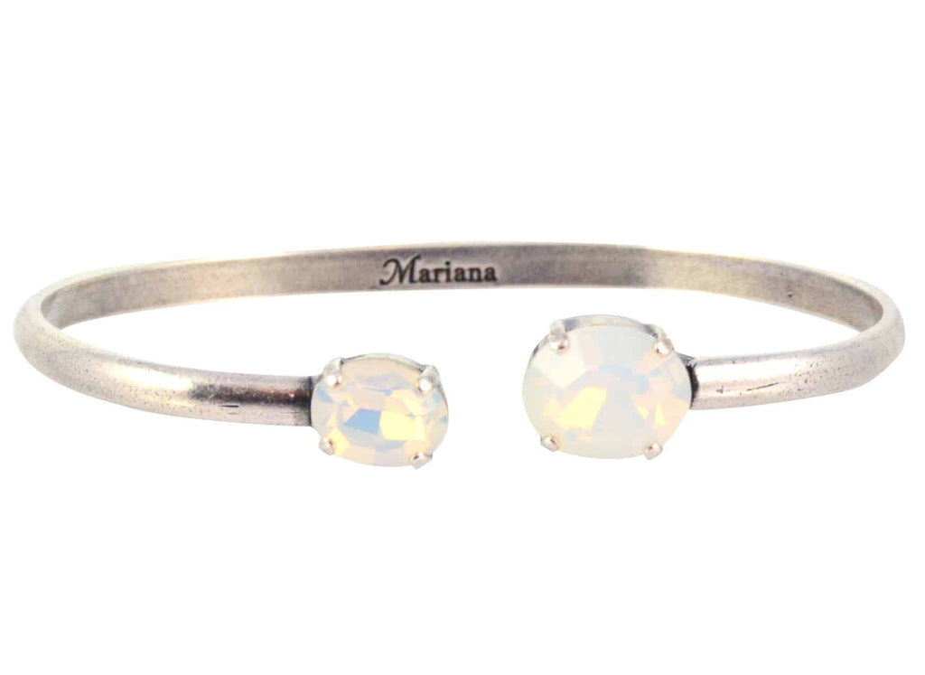 Mariana Jewelry Oval Bangle Bracelet, Silver Plated with White Opaque Swarovski Crystal 4603 234234