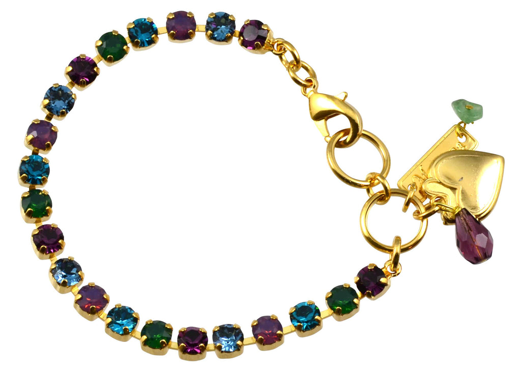 Mariana Patience Gold Plated Swarovski Crystal Tennis Bracelet with Heart Pendant, 8