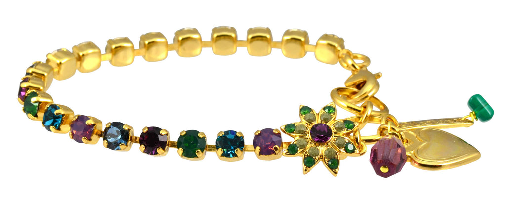 Mariana Patience Gold Plated Swarovski Crystal Tennis Bracelet with Flower and Heart, 8