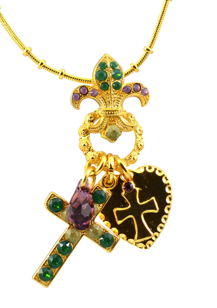 Mariana Jewelry Patience Gold Plated Swarovski Crystal Cross/Fleur de Lis Necklace