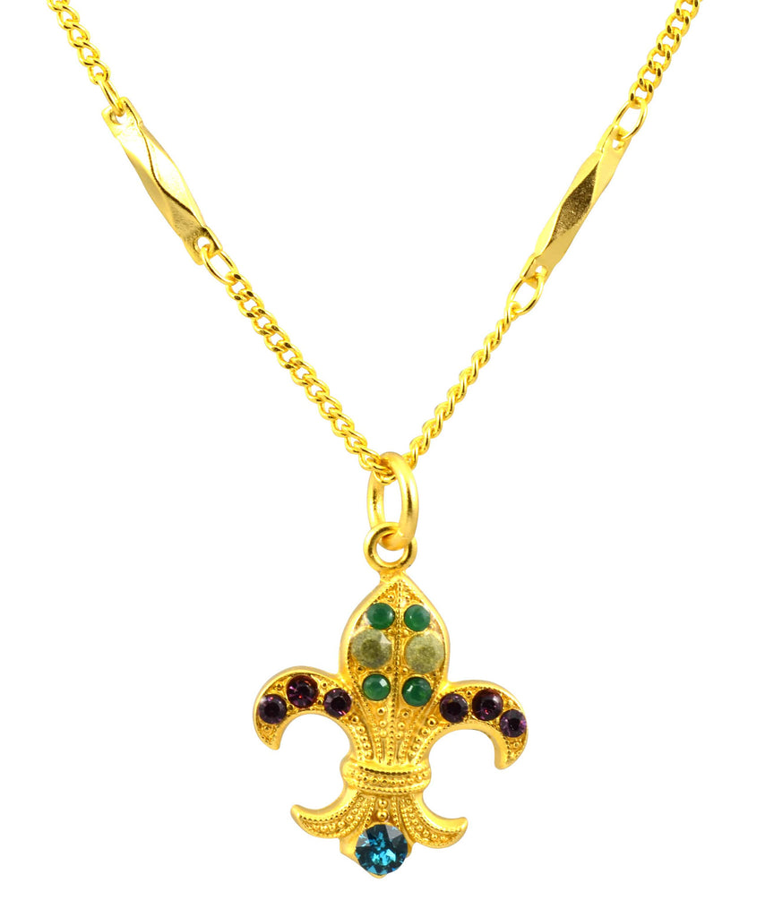 Mariana Patience Gold Plated Swarovski Crystal Fleur de Lis Pendant Necklace