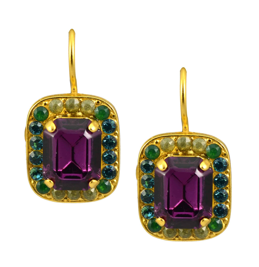 Mariana Jewelry Patience Gold Plated Swarovski Crystal Rectangle Drop Earrings