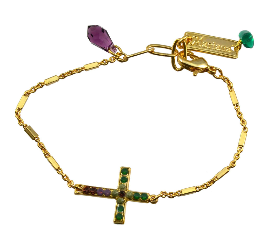 Mariana Jewelry Patience Gold Plated Swarovski Crystal Sideways Cross Bracelet