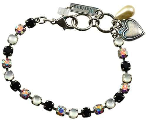 Mariana Peace Silver Plated Swarovski Crystal Tennis Bracelet with Heart Pendant, 8