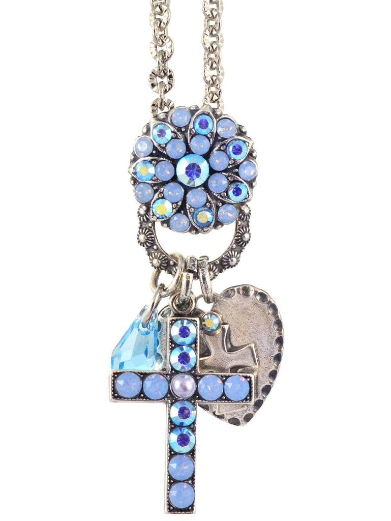 Mariana Jewelry Periwinkle Guardian Angel Style Pendant Necklace with Cross and Heart, Silver Plated with Swarovski Crystal, 24+4 52021/3 1343