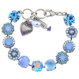 Mariana Periwinkle Large Flower Design Tennis Bracelet, Silver Plated With Blue Swarovski Crystal, 8 4084 1343