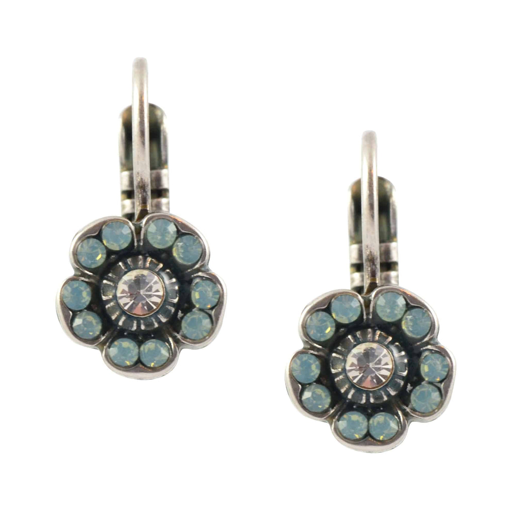 Mariana Jewelry Pina Colada Five Petal Flower Drop Earrings, Silver Plated with Green Swarovski Crystal 1504/2 1063