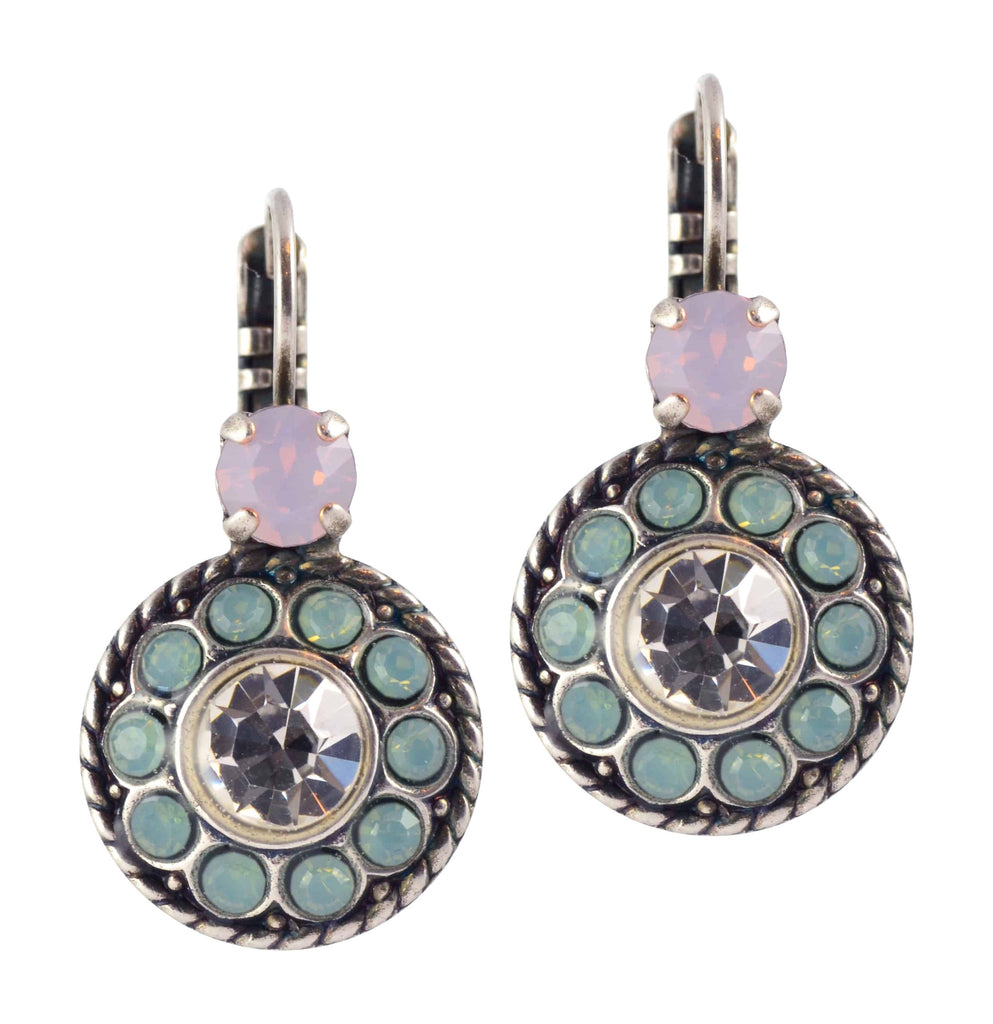 Mariana Jewelry Pina Colada Roundel Drop Earrings, Silver Plated with Green and Pink Swarovski Crystal 1048/2 1063