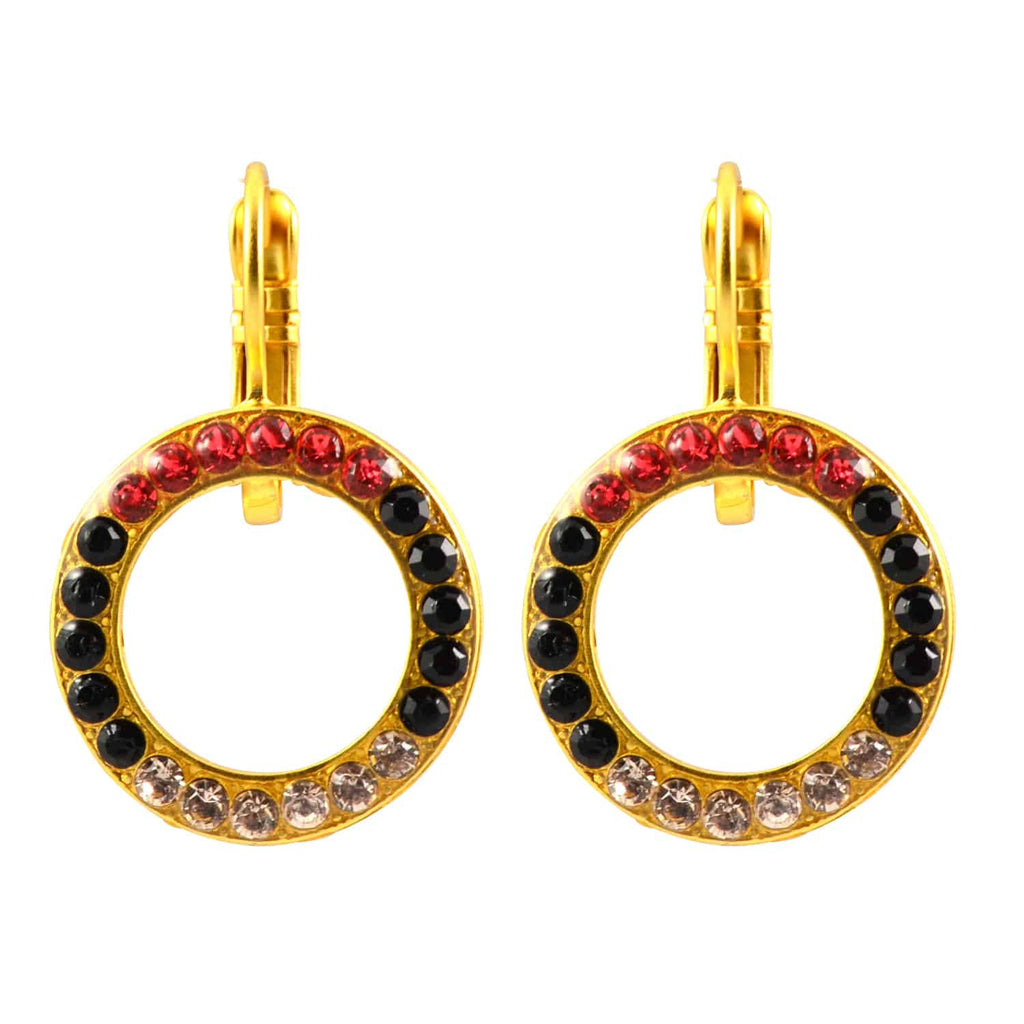 Mariana Jewelry Pomegranate Gold Plated Swarovski Crystal Round Earrings