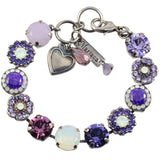 Mariana Jewelry Purple Rain Silver Plated Flower Swarovski Crystal Tennis Bracelet, 8