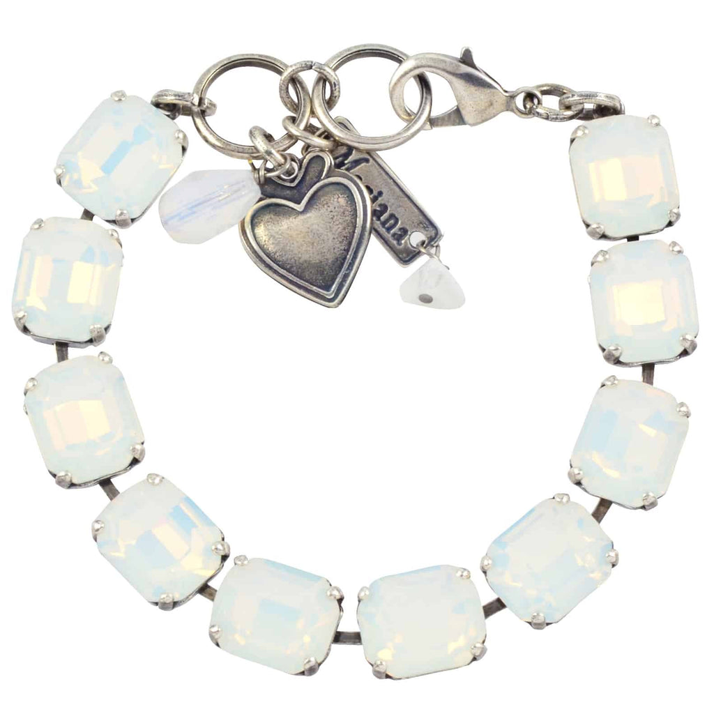 Mariana Jewelry Rectangle Tennis Bracelet, Silver Plated with White Opaque Swarovski Crystal, 8 4414 234234