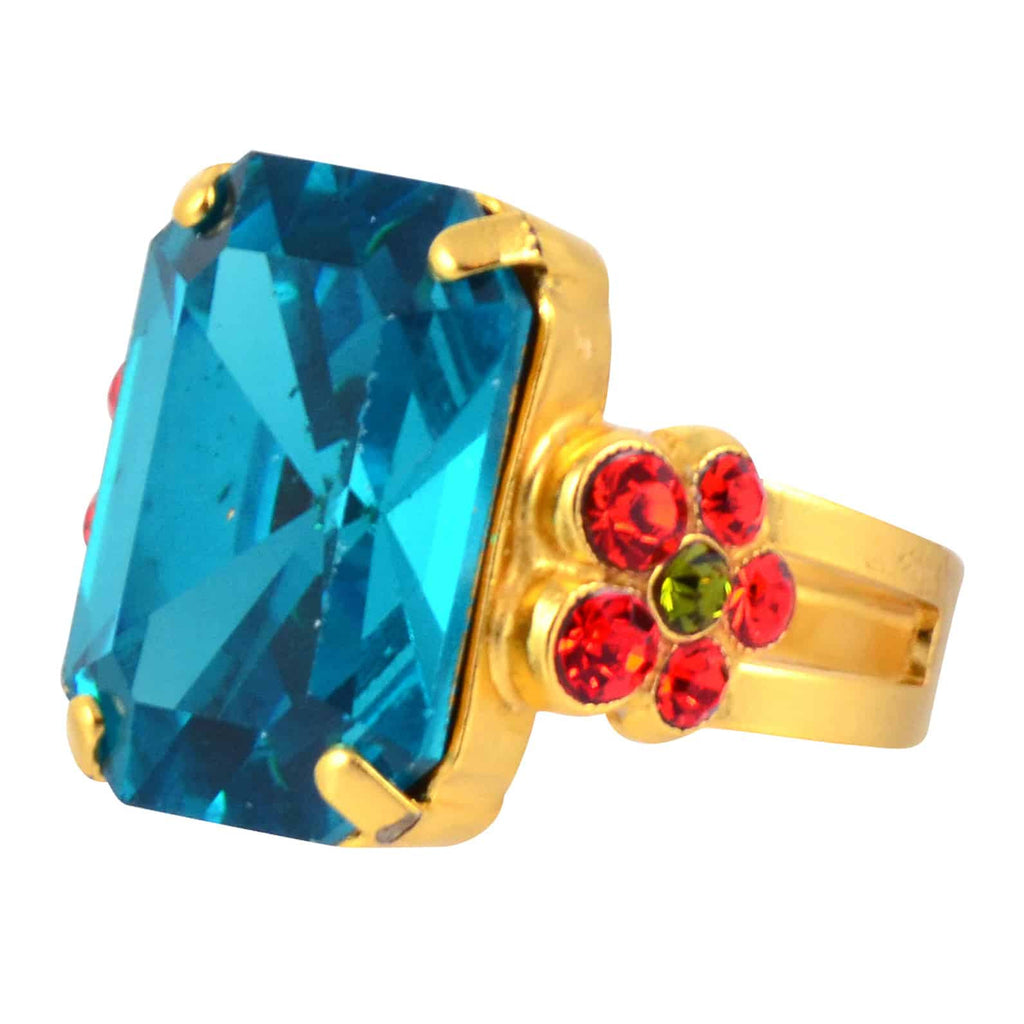 Mariana Jewelry Rectangle and Flower Adjustable Ring, Tiger Lily Gold Plated with Swarovski Crystal 7002/1 1311