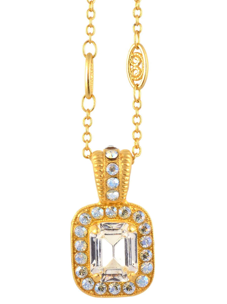 Mariana Jewelry Rectangle Pendant Necklace, Gold Plated with Clear Swarovski Crystal Pendant Necklace, 14+4 5040/3 001MOL