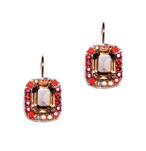 Mariana Jewelry Ring of Fire Rose Gold Plated Rectangle Swarovski Crystal Drop Earrings