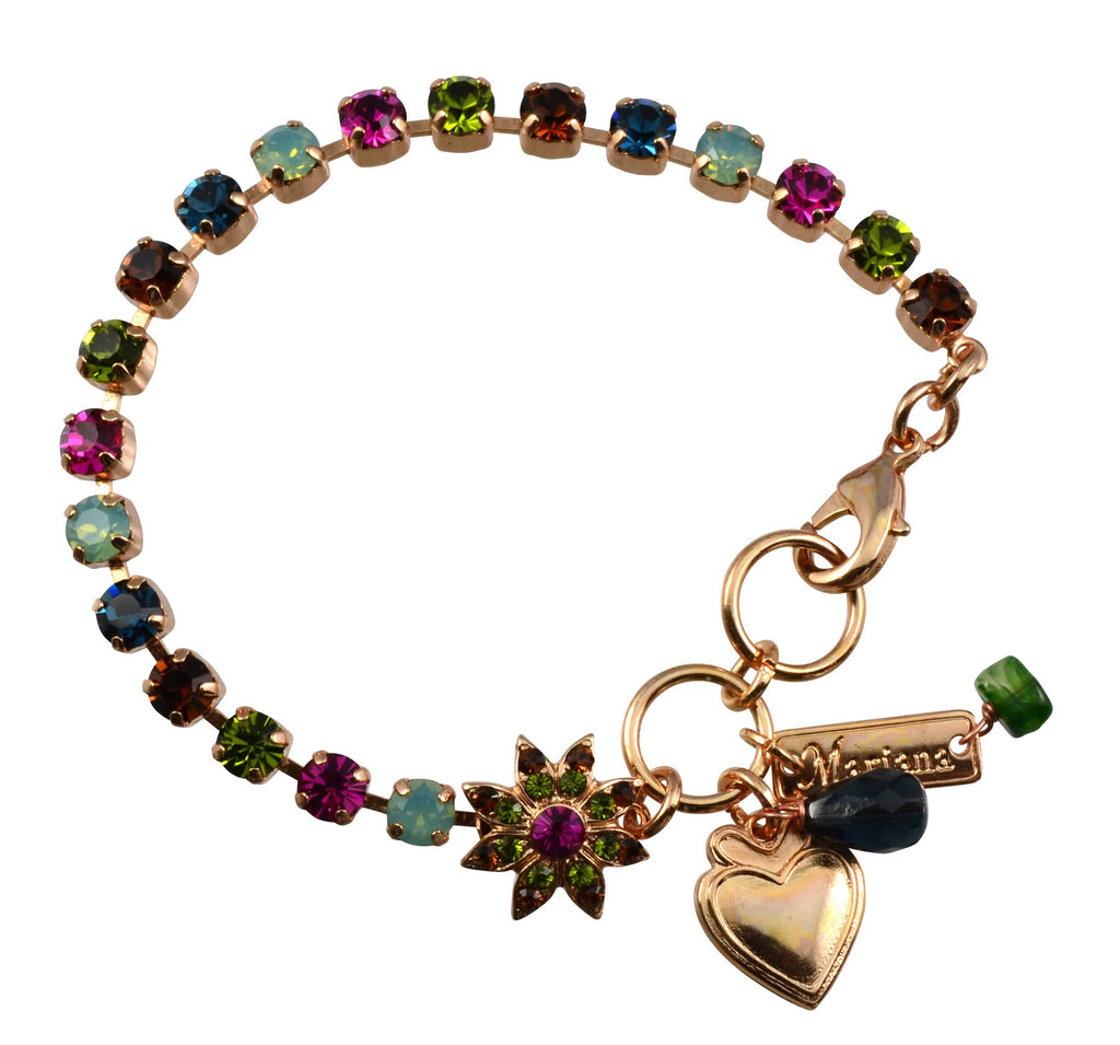 Mariana Rose Gold Plated Swarovski Crystal Tennis Bracelet with Flower and Heart, 8