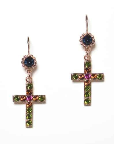 Mariana Rose Gold Plated Swarovski Crystal Jewel and Cross Dangle Earrings