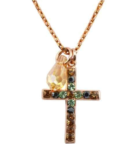 Mariana Jewelry Rose Gold Plated Vintage Lace Swarovski Crystal Cross Pendant Necklace