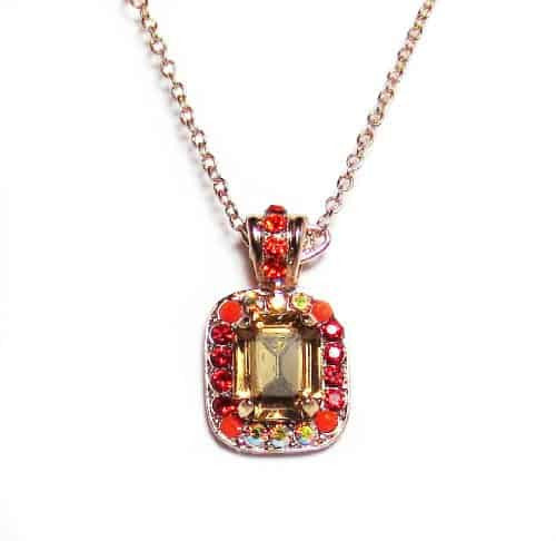 Mariana Jewelry Rose Gold Plated Ring of Fire Rectangle Swarovski Crystal Pendant Necklace, 14+4