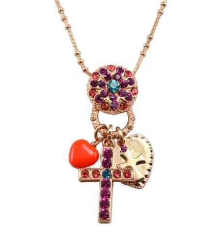 Mariana Jewelry Rose Gold Plated Sorbet Swarovski Crystal Cross Charm Necklace, 20+4