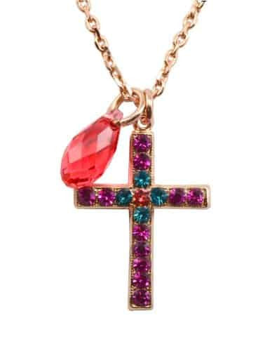 Mariana Jewelry Rose Gold Plated Sorbet Swarovski Crystal Cross Pendant Necklace
