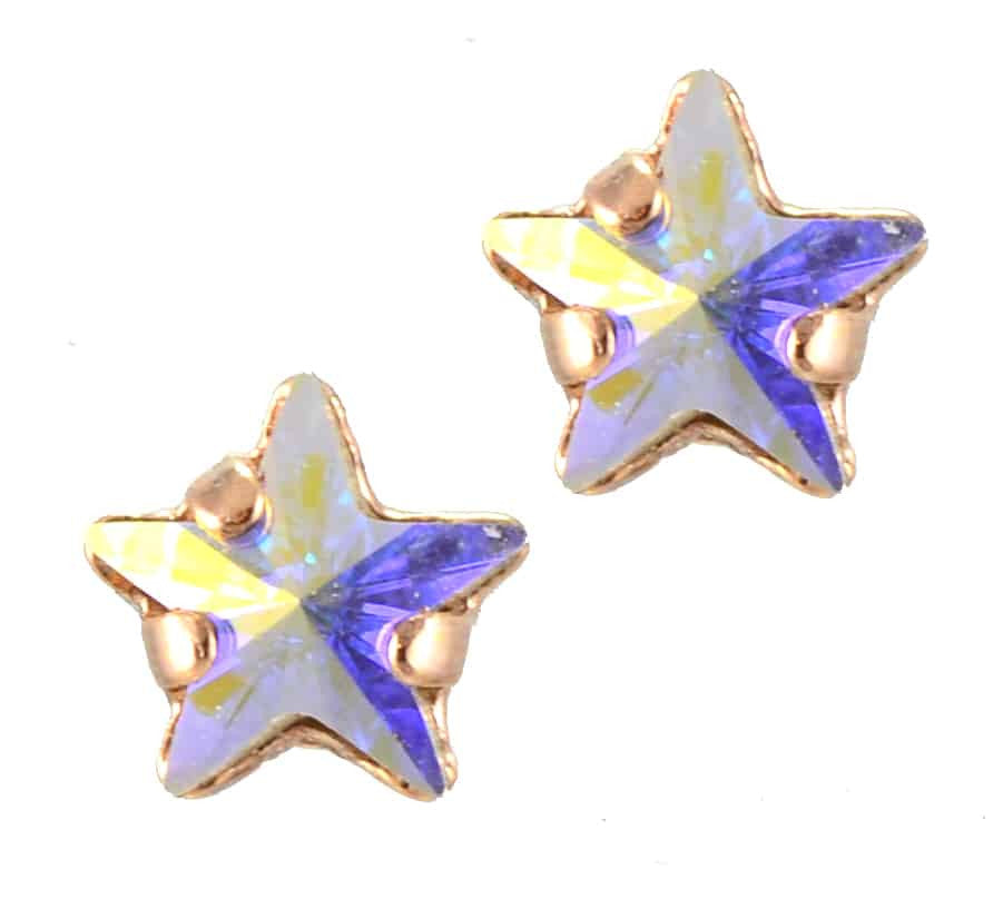 Mariana Jewelry Rose Gold Plated Petite Star Swarovski Crystal Post Earrings in Crystal Aurore Boreale