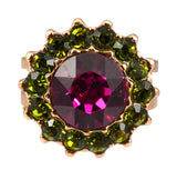 Mariana Jewelry Rose Gold Plated Sunflower Adjustable Ring with Fuchsia and Olive Swarovski Crystals