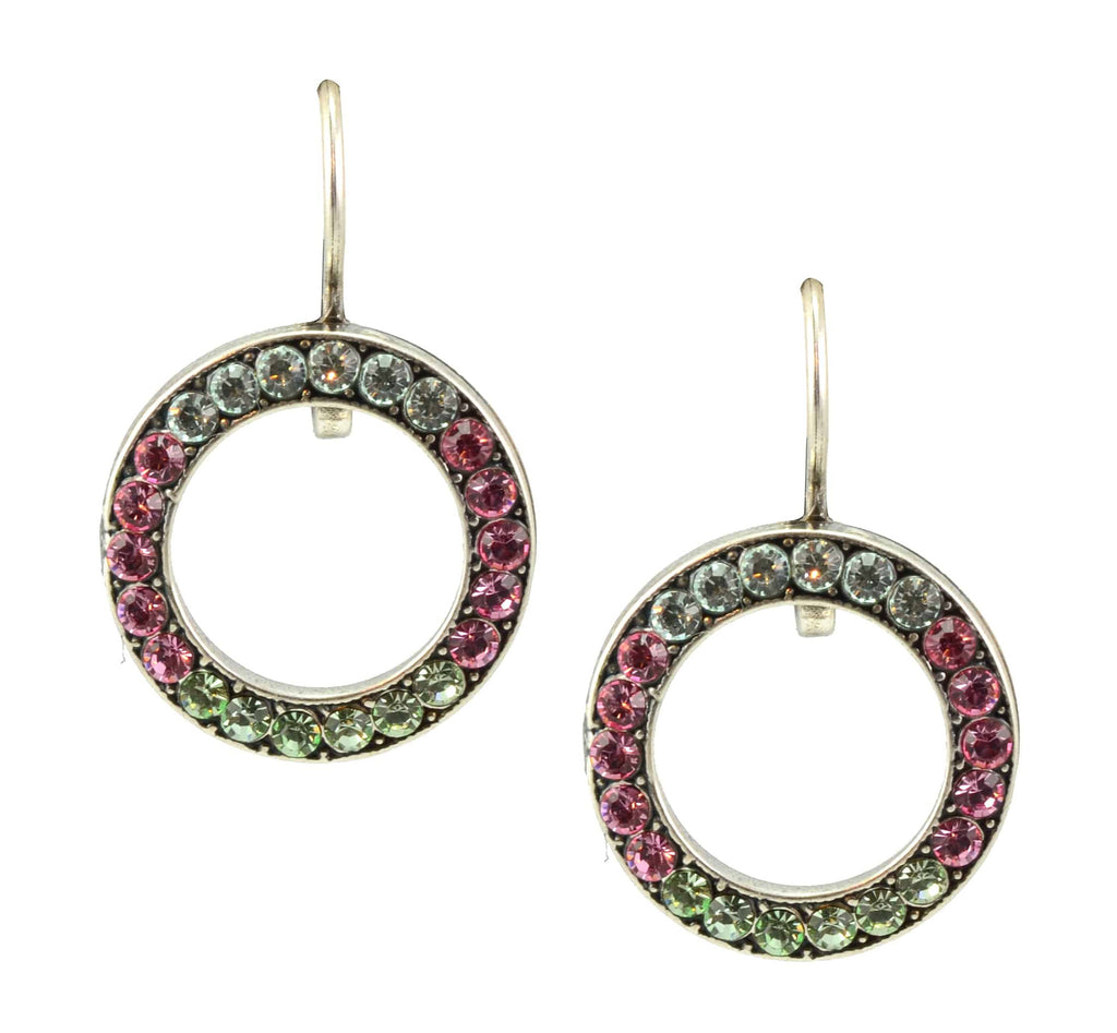 Mariana Jewelry Rose Silver Plated Swarovski Crystal Round Earrings