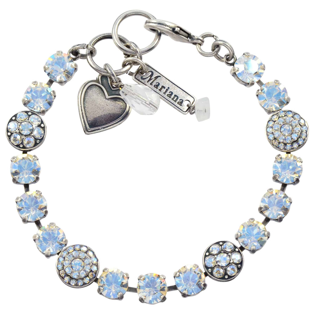 Mariana Jewelry Round Jewel Tennis Bracelet, Silver Plated with Moonlight Swarovski Crystal, 8 4044 001MOL