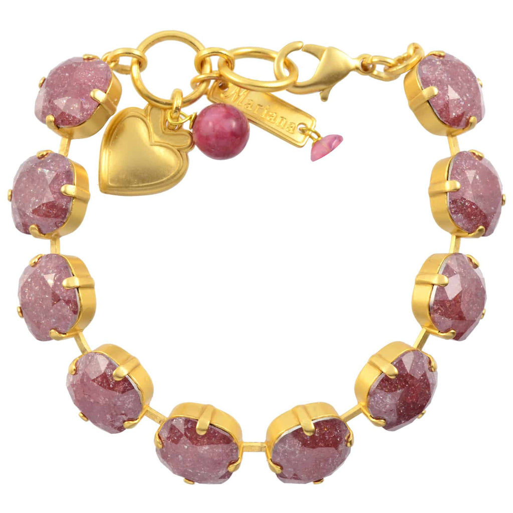 Mariana Jewelry Rounded Square Tennis Bracelet, Gold Plated with Purple Swarovski Crystal, 8 4326/2 031ZIR